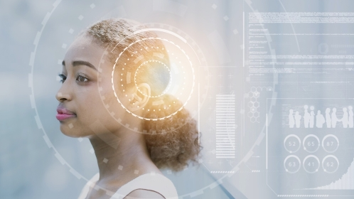 ビジネスウーマンとビジネス・テクノロジーのイメージ