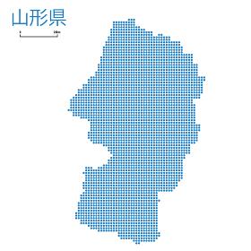 山形県の詳細地図東北地方|都道府県別ドット表現の地図のイラスト ベクターデータ