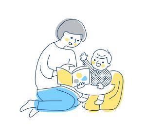 赤ちゃんに読み聞かせをしているママ