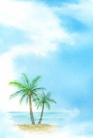 空と海とヤシの木 はがきテンプレート 暑中見舞い 縦 水彩イラスト