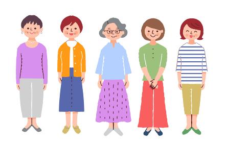 シニア女性5人 全身