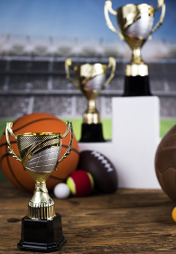 Group of sports equipment, Winner background