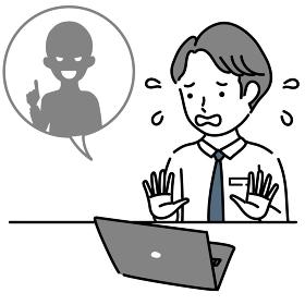 インターネットトラブルに慌てる男性ビジネスパーソンのイラスト素材
