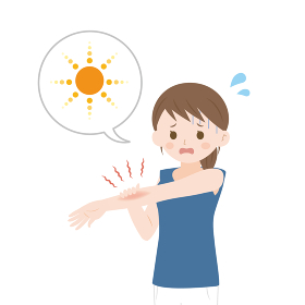 日焼けした女性のイラスト