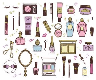 おしゃれかわいいコスメ 化粧道具 手描きイラスト