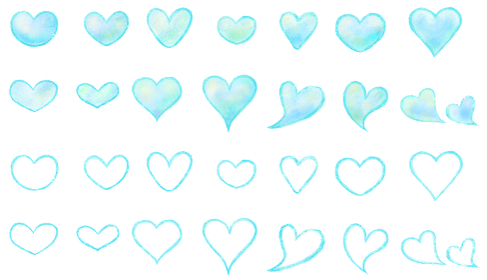 水彩絵具で描いた、形の違う青いハートイラストのセット