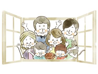 窓から手を振る三世代家族 水彩