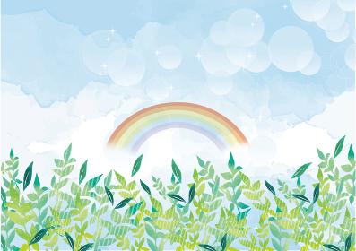 新緑と青空の背景素材 手書き 水彩 景色 風景