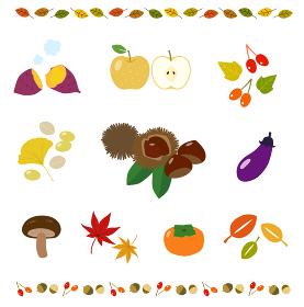 秋の食べ物とフレーム イラストセット