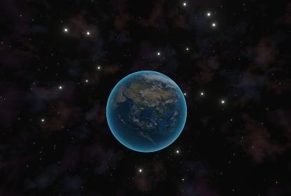 美しい地球と光る白い星