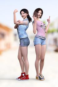 ガッツポーズの女の子と両手をピースサインした女の子が背中合わせに立っているポーズ