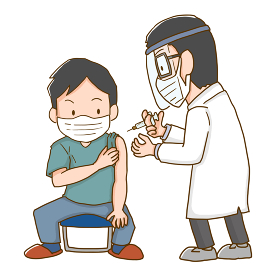 ワクチンを接種する男性