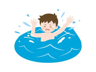 海で溺れる少年のイラスト