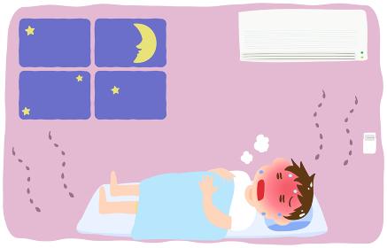 エアコンをつけずに熱中症になる男の子のイラスト