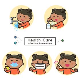 感染症予防/手洗い・消毒・うがい・マスク/女の子セット