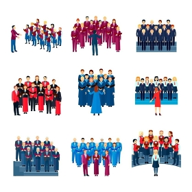 Choir Singing Ensemble Flat Icons Collection . Choir flat icons collection of 9 musical ensembles of singing people led by conductor colorful isolated vector illustration