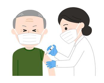 感染症のワクチン接種 痛がる老人イラスト