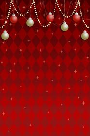 クリスマス用背景素材、赤のダイヤモンドチェックパターンにオーナメントとガーランド