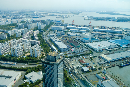 大阪南港の風景 ヘリポート ハイアングル 遠景