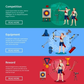 Archery Flat Banners. Colorful flat horizontal archery banners with players rewards and necessary equipment for competition isolated vector illustration