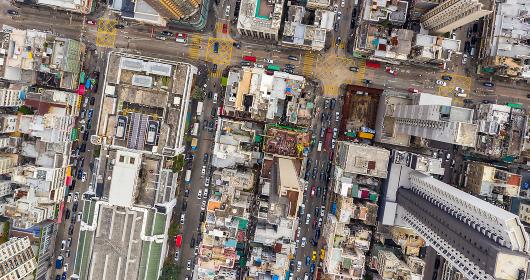 Kowloon city, Hong Kong 02 March 2019: Aerial of Hong Kong city