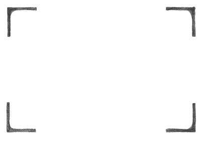 鉛筆手描きの四つ角フレーム シンプルなモノクロ背景