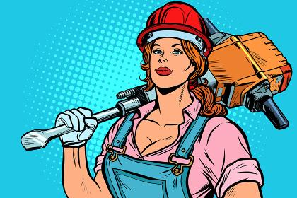pop art women road worker Builder with jackhammer
