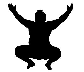 手を広げるお相撲さんのシルエット