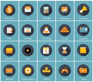 Big Vector Collection of Flat Business and Finance Icons with Long Shadows. Modern  Design Elements for Web and Mobile Applications. EPS10. Big Vector Collection of Flat Business and Finance Icons with Lo