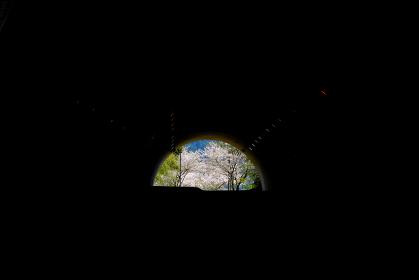 トンネルの先に見える明るい希望の光のイメージ