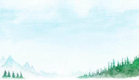 山 森林 山岳 景色 風景 背景 水彩 イラスト