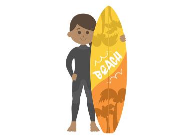 ウェットスーツを着た女性サーファーのイラスト