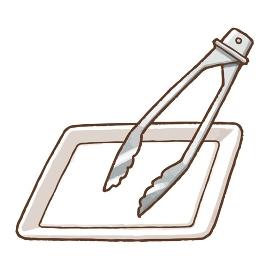 トングとトレーの手描きベクターイラスト