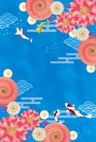 浮世絵風和風背景素材 日本庭園 錦鯉