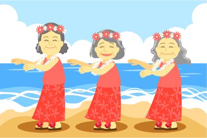 フラダンスをするおばあちゃん 海辺ver