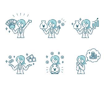 スーツの女性とお金のポジティブなイメージ(日本円)