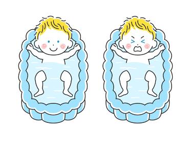 沐浴する白人の赤ちゃんのイラスト