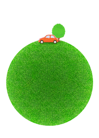 芝生の球体と赤い車