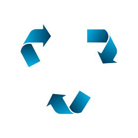 3 ステップ 三角形ローテーションフロー テンプレートイラスト (エコロジー/リサイクル etc.)