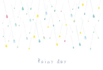 雨:かわいい 雫 雨粒 粒 雨天 梅雨 6月 7月 天気 小雨 水彩 しずく 水 フレーム 枠