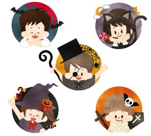 ハロウィンの子供たち 水彩