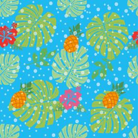 シームレスのパイナップルとハイビスカス、モンステラのイラストの連続柄|ファブリック・テキスタイル