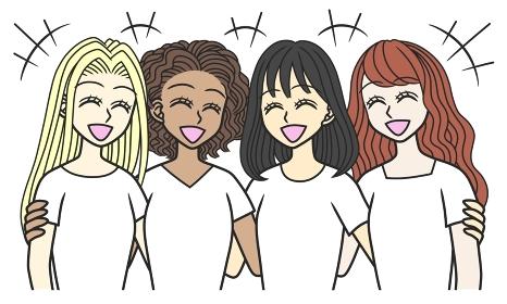 肩を寄せて笑い合う、異なる国の若い女性4人