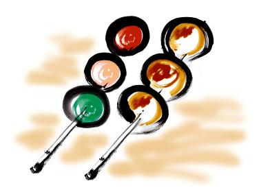 和風手描きイラスト素材 和菓子 みたらし団子, 三色だんご