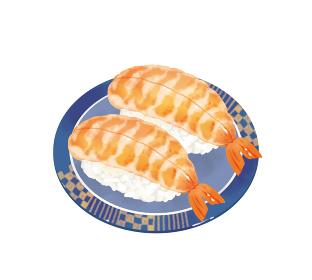 リアルで美味しそうなえびのお寿司のイラストレーション