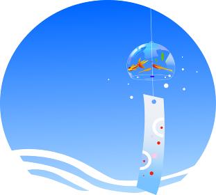 風鈴と夏イメージの青空
