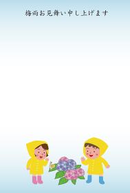 レインコートの男の子と女の子の梅雨見舞い状