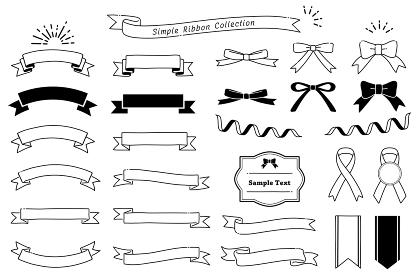 手描き風のシンプルなリボン素材セット(モノクロ)