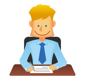 外人・西洋人 若い男性サラリーマン・ビジネスマン 上半身イラスト (書類を書く・デスクワーク)