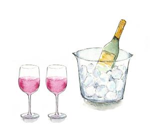 ワインクーラーとワイン 影あり 水彩イラスト